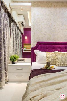 4 BHK Flat in Mumbai Gets Pretty & Budgeted Interiors Bedroom Furniture Design, Home Room Design, Bedroom Decor Design, Apartment Interior, Bed Furniture Design, Indian Bedroom Decor, Bedroom False Ceiling Design, Simple Bedroom, Luxury Room Design