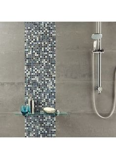 Grey Stone and Glass Mosaic from Tile Mountain only per tile or per sqm. Order a free cut sample, dispatched today - receive your tiles tomorrow Grey Mosaic Tiles, Stone Mosaic Tile, Mosaic Glass, Small Tiles, Glass Marbles, Wall And Floor Tiles, Grey Stone, Grey Walls, Frosted Glass