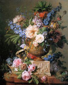 Flowers In An Alabaster Vase Canvas Print / Canvas Art by Gerard Van Spaendonck