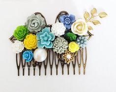 Bright Yellow Wedding Hair Comb Flower Bridal Head Piece Floral Sage Green Moss Dusky Blue Gray Emerald Bridal Hair Piece Bridesmaid Gift - Jewelsalem