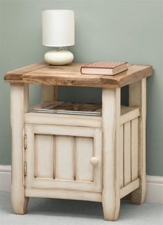 Painted Mango wood bed side table.