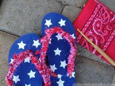 crocheted bandanna flip-flop tutorial by dollarstorecrafts.com