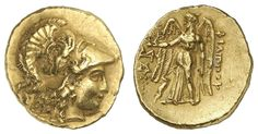 MACEDONIA, Philip III. Arrhidaios, 323-317 BC, AV-Stater, Abydus, embossed under Leonnatos, Arrhidaios or Antigonos I. Monophthalmos, Aversum: helmeted Athena head to the right, reverse: Nike with wreath and Stylis left, monogram over pentagram, Cornucopia under the right blade, prize P 36 var. (helmet with the Winged Horse), small edge nick, 8. 42 g, very fine    Dealer  Auction house Ulrich Felzmann    Auction  Minimum Bid:  1500.00 EUR