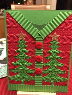 "My friend, Jo R., had an ""Ugly Sweater Class"" What a hoot! Jo shared the cards she made as samples for the gals, and then let them go for it! I just had to share these cards as they are SO clever Enjoy! Here are Jo's Samples And here is what her class att Homemade Christmas Cards, Christmas Cards To Make, Xmas Cards, Christmas Greetings, Homemade Cards, Handmade Christmas, Holiday Cards, Christmas Crafts, Cricut Christmas Cards"