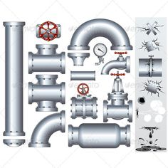 Industrial Conduit Elements  Set of Industrial Pipelines Parts With Set of Various Damaged Elements. Vector Gas or Fuel Pipe, Faucet, Valve, Connector, Shaft, Wheel, Fitting, Gate, Wheel etc …