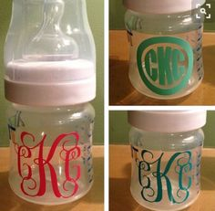 baby shower gift - personalized baby bottles with vinyl Vinyl Monogram, Baby Monogram, Monogram Cups, Monogram Stickers, Monogram Initials, Everything Baby, My Baby Girl, Baby Baby, Baby Bottles