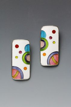 Enameled Long Rectangle Galaxy Cloisonne Earrings by Anna Tai  | avail from Artful Home  <3<3<3I JUST LOVE EVERYTHING ABOUT ANNA'S JEWELLERY! THE BEAUTIFUL & OFTEN VIBRANT  COLOURS/WHIMSICAL DESIGNS MIXED W' GEMS & PRECIOUS METALS (I'D <3 TO OWN A PIECE...sigh), SIMPLY STUNNING!<3<3<3