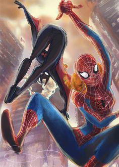 Elsa as Batman and Anna as Spider-Man   Disney and Marvel and DC Comics   Art: Samantha Dodge