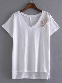 Camiseta escote V bordada - blanco-Spanish SheIn(Sheinside)