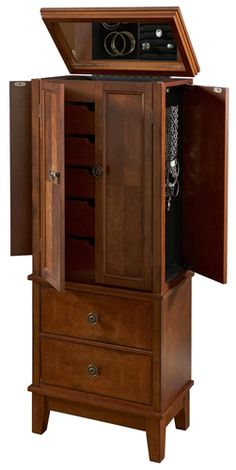 """Cherry"" 2-Door, 2-Drawer Jewelry Armoire"