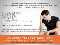 Online Recorded Course now Available: Male Sexual Health & Fertility: Increasing Staying Power and the Treatment of Premature Ejaculation. A practical experience based approach to treating premature ejaculation and lasting longer in bed using chinese herbal medicine. With over 30% of males suffering from premature ejaculation each year, one of your patients or patients partners is effected by this disorder.