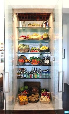 glass fridge! I would love this for our fruits and veggies!!