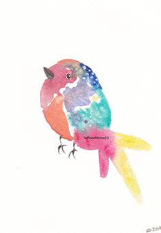 Pretty Rainbow Bird - Art Print Watercolor - Archival Art Print - Wall Art - Home Decor Print 5x7