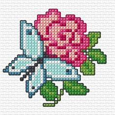 So many of you enjoyed stitching my rose chart last week, I thought it would be great to do another. Tiny Cross Stitch, Xmas Cross Stitch, Butterfly Cross Stitch, Cross Stitch Pillow, Stitch Book, Cross Stitch Heart, Cross Stitch Cards, Simple Cross Stitch, Cross Stitch Borders
