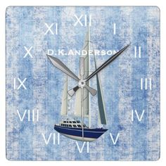 Sailing Yacht Clock Blue and White - decor gifts diy home & living cyo giftidea