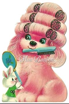 Cute Retro Pink Puppy in Curlers Clip Art Illustration . Happy Birthday Niece, Girl Birthday Cards, Vintage Birthday Cards, Vintage Greeting Cards, Vintage Valentines, Vintage Ephemera, Vintage Postcards, Vintage Images, Birthday Wishes