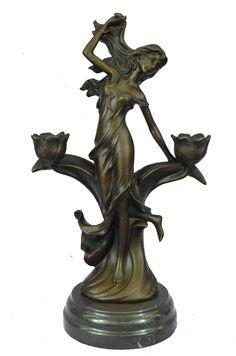 Vitaleh Bending Nude Girl Bronze Sculpture Original Figurine Masterpiece Art T