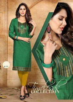 Awesome Green Cotton Kurti Top892