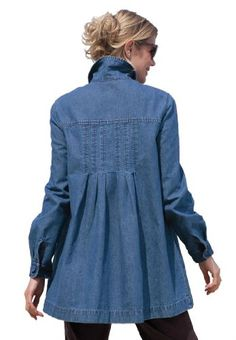Plus Size Pigment Twill Jacket (Medium Stonewash,3X)