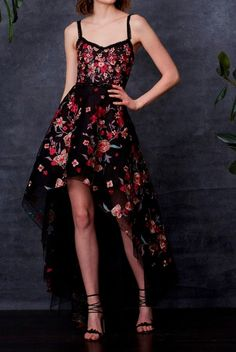 Marchesa Notte Black Sleeveless Floral High Low Evening Gown | Poshare