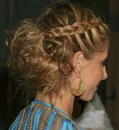 Cute side braid with messy bun