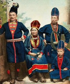 Swedish Sami family from Jokkmokk - Mattias Åren to the left and his son Nejla to the right. Photo 1870 - 1898