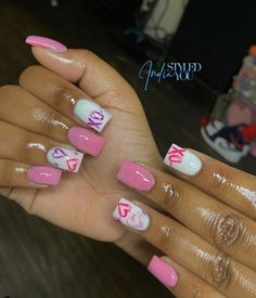Holiday Acrylic Nails, French Manicure Acrylic Nails, Acrylic Nails Coffin Pink, Short Square Acrylic Nails, Coffin Nails Long, Summer Acrylic Nails, Square Nails, Dope Nail Designs, Cute Acrylic Nail Designs