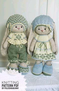 Knitting Pattern: Pretty Outfit Knitting Pattern by Polushkabunny - Knitting patterns Knitted Dolls Free, Knitted Doll Patterns, Doll Clothes Patterns, Knitting Patterns, Knitted Baby, Crochet Bunny, Crochet Toys, Crochet Birds, Little Cotton Rabbits