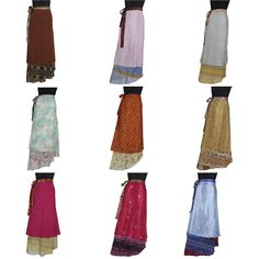 a93edb0535e 3 Pcs Mix Skirt Lot 100 Ways to Wear Magic Wrap Skirt Vintage India Silk 38