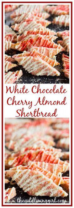 White Chocolate Cherry Almond Shortbread