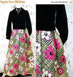 SALE Vintage 60's Maxi Dress Evelyn Pearson by MODernThrowback