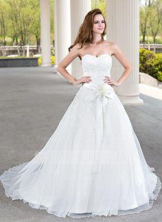 Duchesse-Linie Herzausschnitt Hof-schleppe Satin Organza Spitze Brautkleid mit Perlen verziert Blumen (002011970) - JJsHouse