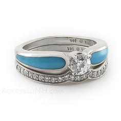 Moonlit Lake Radiance Tier 2 Diamond Turquoise Engagement Ring