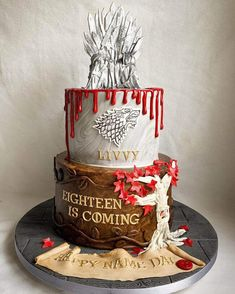 50 Game of Thrones Cake Design (Cake Idea) - February 2020 Bolo Game Of Thrones, Game Of Thrones Party, 18th Birthday Cake, Birthday Bash, Game Of Thrones Birthday Cake, Got Party, Cool Cake Designs, Cake Games, Caking It Up