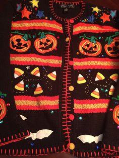 Halloween Knit Cardigan Sweater Pumpkins by BlueDaisyClassics