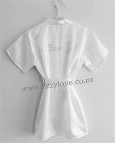 Gorgeous satin robes with gorgeous rhinestone flower girl personalisation across the back of the robe. Flower Girl Robes, Bridesmaid Robes, Gifts For Wedding Party, Dressing, Gowns, Gift Ideas, Flowers, Accessories, Fashion
