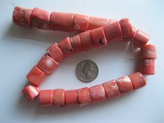 Salmon Coral Beads Color Enhanced Vintage  by GotMilkGlassAndMore, $5.75