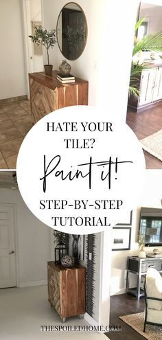 I am so excited to share my entryway makeover with you. We completed this project in phases: paint, wallpaper, trim, painted the tile, and then new floors! Diy Home Decor Projects, Home Crafts, Diy Crafts, Paint Stick Crafts, Fall Crafts For Adults, Diy Flooring, Flooring Ideas, Moroccan Wall Stencils, Layout