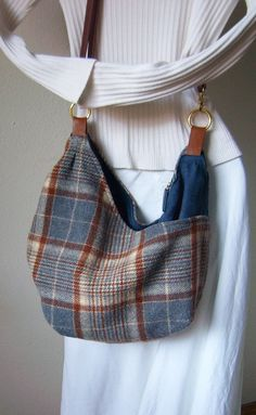 Upcycled Pendleton Wool Blanket Large Cross Body Purse Bag Again