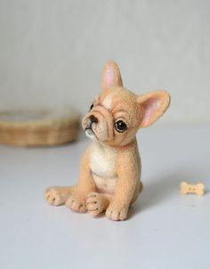 Needle felted french bulldog (for Courtney). Felt dog. Cute animal. by Fenekdolls on Etsy https://www.etsy.com/listing/244296486/needle-felted-french-bulldog-for