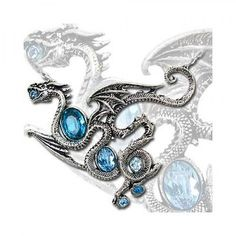 Romantic Gothic Alchemy Gothic 1977 Aqua Dragon Necklace P646