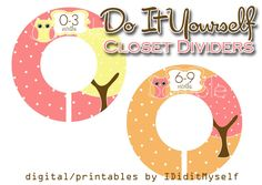 DIY! Printable Owl Baby Clothing Dividers by IDidItMyself on Etsy
