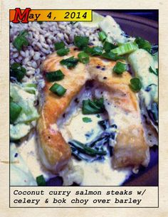 Blue Apron coconut curry salmon steak boko choy barely