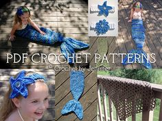 Crochet by Jennifer has designed a plethora of Mermaid patterns!  This set has 4 patterns (tail, headband, bikini top and fishing net blanket)  Great photo props!  Other sizes available on her Ravelry pages!