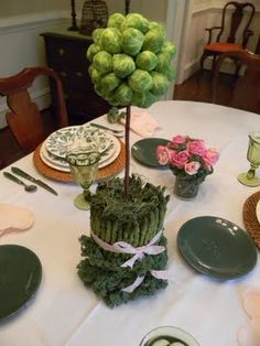 Brussel sprout topiary