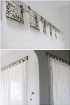 Unique curtain rod made from recycled old bench wood and hooks. Love it! by Aniky