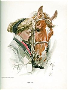 """$124 Gorgeous antique print by Harrison Fisher. Beautiful blonde Victorian lady in riding attire feeding her beloved horse some sugar cubes. Approx. 8.5 x 11"""", equestrian art"""