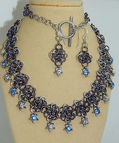 Hand-Made Aluminium Chain Maille & Rhinestone Star Charms Necklace & Earrings in Jewellery & Watches, Handcrafted Jewellery, Sets   eBay