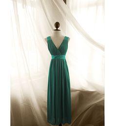 Green gem greek medieval crystal pleated empire chiffon dress gown