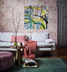 Maleri på vegg interiør 4 Couch, Furniture, Home Decor, Kunst, Settee, Decoration Home, Sofa, Room Decor, Home Furnishings